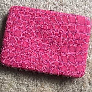 Magenta pink reptile snap closure wallet
